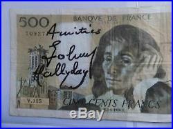 Autographe Johnny HALLYDAY dédicace HALLYDAY sur billet de banque 500 francs