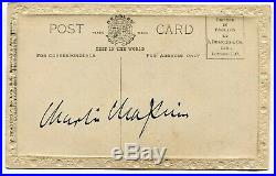Autographe ORIGINAL de l'Acteur CHARLIE CHAPLIN sur RARE CP Colorisée d'Epoque