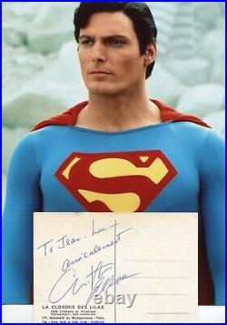 Autographe ORIGINAL de l'Acteur CHRISTOPHER REEVE sur CP La CLOSERIE DES LILAS