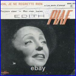Autographe ORIGINAL de la Chanteuse EDITH PIAF sur face de pochette seule 45T
