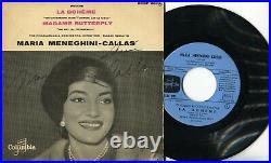 Autographe ORIGINAL de la Diva MARIA MENEGHINI CALLAS sur Pochette EP 45T