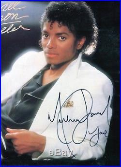 Autographe ORIGINAL du Chanteur MICHAEL JACKSON sur face de Pochette THRILLER