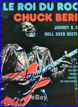 Autographe ORIGINAL du grand Guitariste CHUCK BERRY sur LP 33T OLYMPIA 2005