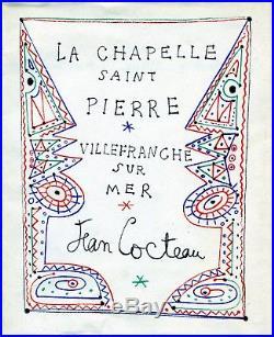 Autographe & dessin ORIGINAL de JEAN COCTEAU sur Livret de la Chapelle St Pierre