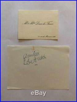 Autographe original de Louis de Funès + Carte de visite (Collection/Rare)+ Photo