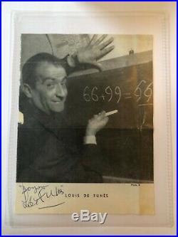 Autographe original de Louis de Funès Signature authentique sur feuillet -1959