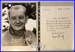 Autographe original de Marcel Pagnol sur lettre à en-tête et photo de presse