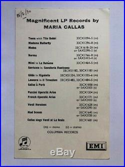 Autographe original de Maria Callas Carte dédicacée Signed