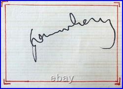 Autographe original de Serge Gainsbourg Dédicace Signé 13 Décembre 1980