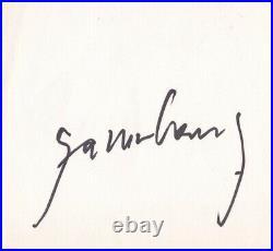 Autographe original de Serge Gainsbourg + Page Agenda + Photo argentique -Signed
