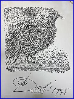 Autographe ou Estampe Salvador Dali Le Coq Signée 53x39cm 1975