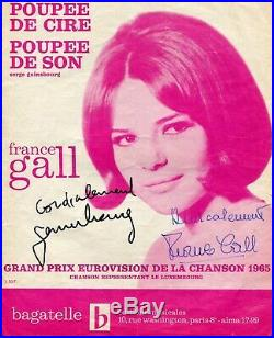 Autographes de Serge Gainsbourg et de France Gall sur partition Poupée de cire