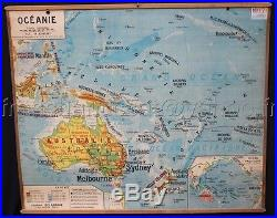 B619 Ancienne carte scolaire vintage DELAGRAVE OCEANIE 17 EUROPE POPULATION 9