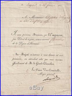 BERTHIER autographe Napoléon Légion d'Honneur 1814