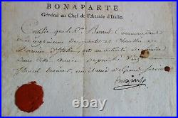 BONAPARTE CERTIFICAT DE BONS SERVICES du GENERAL BARRAL PONT & CHAUSSEES 1795