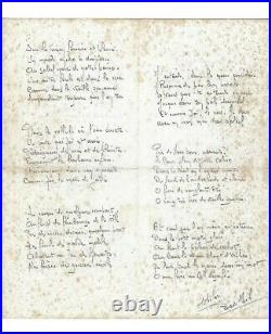 (BRASILLACH) Poème Chants pour André CHENIER dans une belle calligraphie