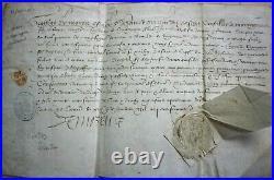 BREVET MANUSCRIT DE CAPITAINE DU CHATEAU D'ISSOUDUN à G. De SIGONGNE 1577