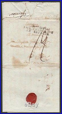 B. Au G. Al ARM. FRANCAISE EN ESPAGNE. Bollo nero su tre righe. Lettera del 1809
