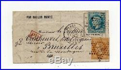 Ballon Monte Le Colonel Charras, Affranch A 30c Pour Bruxelles. Avec Texte
