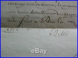 Beau document manuscrit signé par Louis XIV et Le Tellier, 1656 Ordre militaire