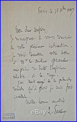 Belle lettre de Pasteur sur la rage