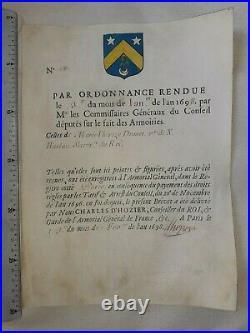 Brevet d'armoiries, blason 1698 Drouet-Harlau d'Hozier Armorial général