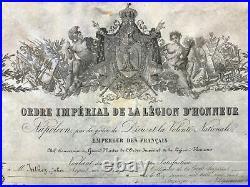 Brevet de chevalier de l'ordre de la Légion d'Honneur Napoléon Empire 1860