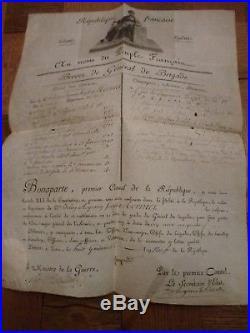 Brevet de général de brigade sur vélin Signé Bonaparte, Berthier et Maret
