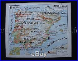 C825 Carte Scolaire vintage Espagne Portugal physique Lablache déco indusriel