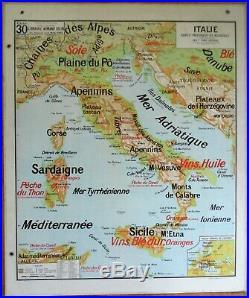 CARTE SCOLAIRE VIDAL LABLACHE 30-30 bis ITALIE CARTE PHYSIQUE ET AGRICOLE