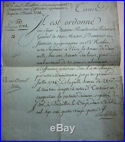 CHARLES PHILIPPE D'ARTOIS NIORT ORDRE DE PAYER SIGNE Futur CHARLES X -1784