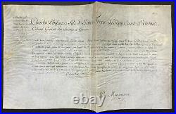 CHARLES X Roi de France Document signé Suisses et Grisons 1779