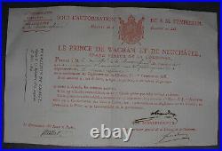 CHASSE. Permis de Chasser à Tir des Forêts Impériales Oiseaux de Passage. 1813