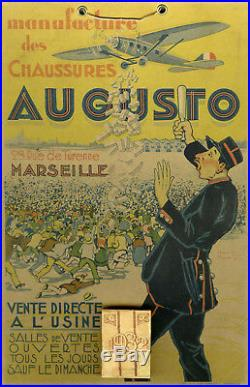 CHAUSSURES AUGUSTO Marseille Carton-calendrier publicitaire original 1932