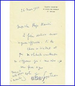 COCTEAU Jean, écrivain, poète. Lettre autographe (Réf. G 3364)