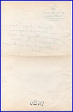 COLETTE Lettre autographe signée Monte-Carlo 3 mars 1953