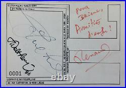 COLUCHE RENAUD WALTHÉRY Dédicaces autographes / Restos du coeur 1986