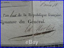 CONGE DEFINITIF CONSULAT AN 8 signé général Édouard Mortier futur Maréchal & Duc