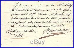 C. J. Rouget De Lisle / Document Autographe Signée / 1816 / Marseillaise