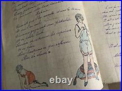 Cahier de chansons dessin aquarelle érotique 1925 soldats 19e bataillon chasseur