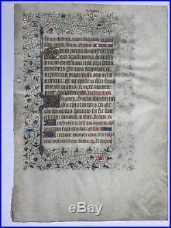 Calligraphie Parchemin Enluminure Livre d'heures Manuscrit XVeme