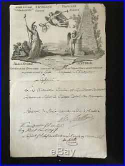 Campagne D'égypte / Napoléon / Passeport Signé Par Le Marechal Berthier / 1798
