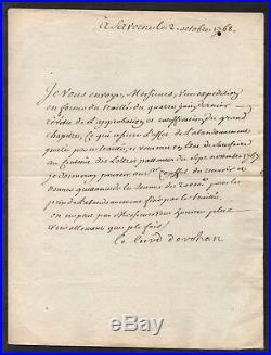 Cardinal De Rohan / 1768 Alsace Saverne Lettre Autographe (7646)