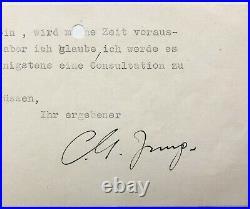 Carl Gustac JUNG Pièce signée et carte autographe à Ania Teillard