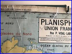 Carte Affiche scolaire Vidal Lablache n°22 Planisphère Union Française