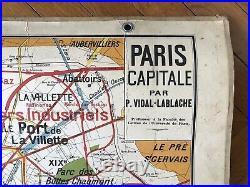 Carte Affiche scolaire Vidal Lablache n°24 Paris Capitale