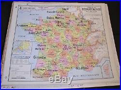 Carte Affiche scolaire Vidal Lablache n°4 France Départements