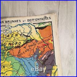 Carte Scolaire Ancienne France Géologique Hatier, jean Brunhes et Deffontaines