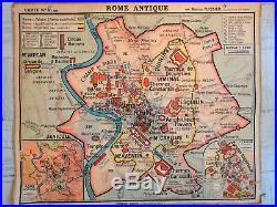 Carte Scolaire Ancienne Gaule Romaine Rome Antique Hatier Maurice Teissier Rare