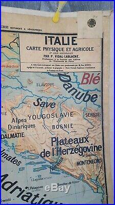 Carte Scolaire Ancienne Vidal Lablache Déco Vintage Italie